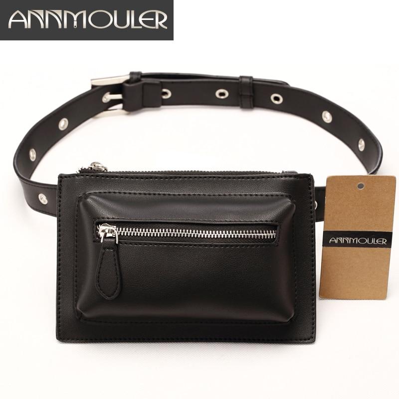 Annmouler Brand Designer Women Waist Bag Pu Leather Belt Bag Solid Color Phone Pouch Quality Fanny Pack Adjustable Waist Packs
