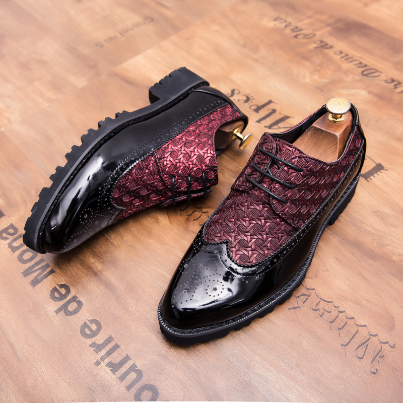 2019 Fashion Pointed Toe Dress Shoes Men Oxfords Patent Leather Wedding 3#15NE50