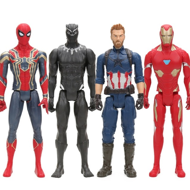30CM The Avengers Superhero Figure Iron Spider Captain America Black Panther Iron man Collectible Model Dolls Marvel Toys marvel comic wallets book of the alliance anime the united states captain of america iron man green giant spider man wallet