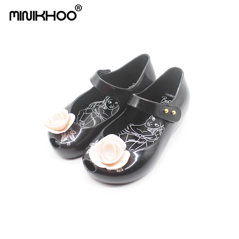 Mini Melissa Kids Sandals Rose Green Leaves Printed 2018 New Girl Shoe New Beauty Beast Jelly Princess Rain Shoes Soft Plastic