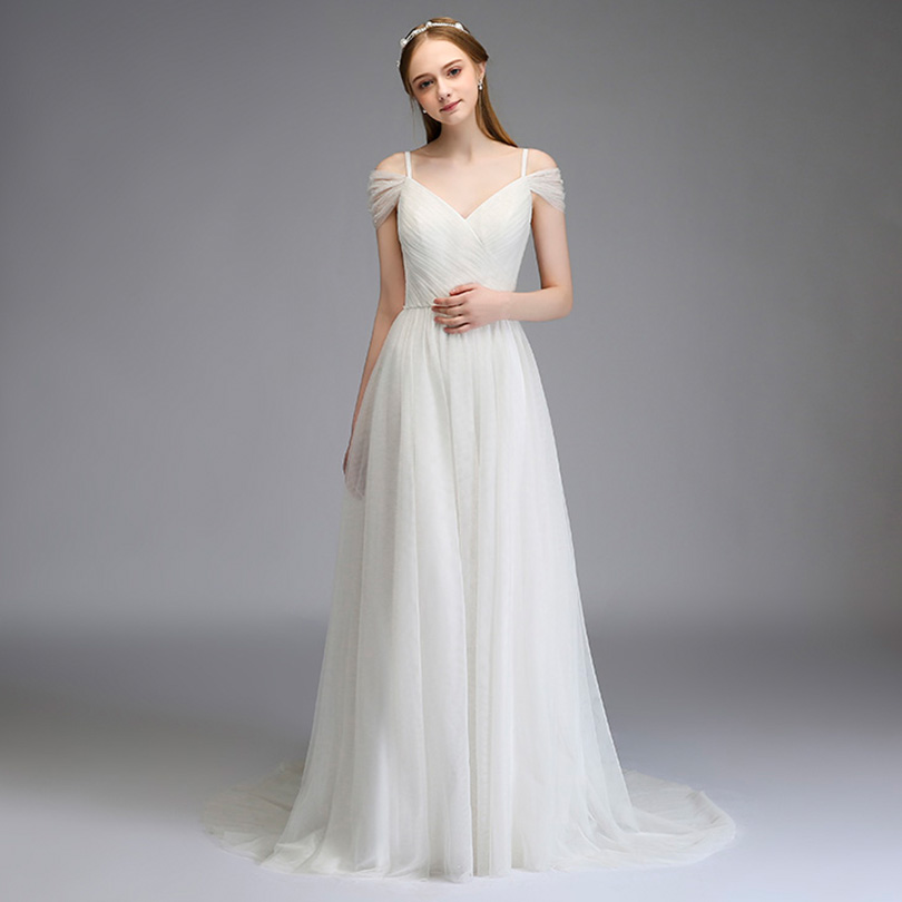 2018 Elegant Spaghetti Tulle Bridesmaid Dresses Off the Shoulder Long Wedding Party Dress 1