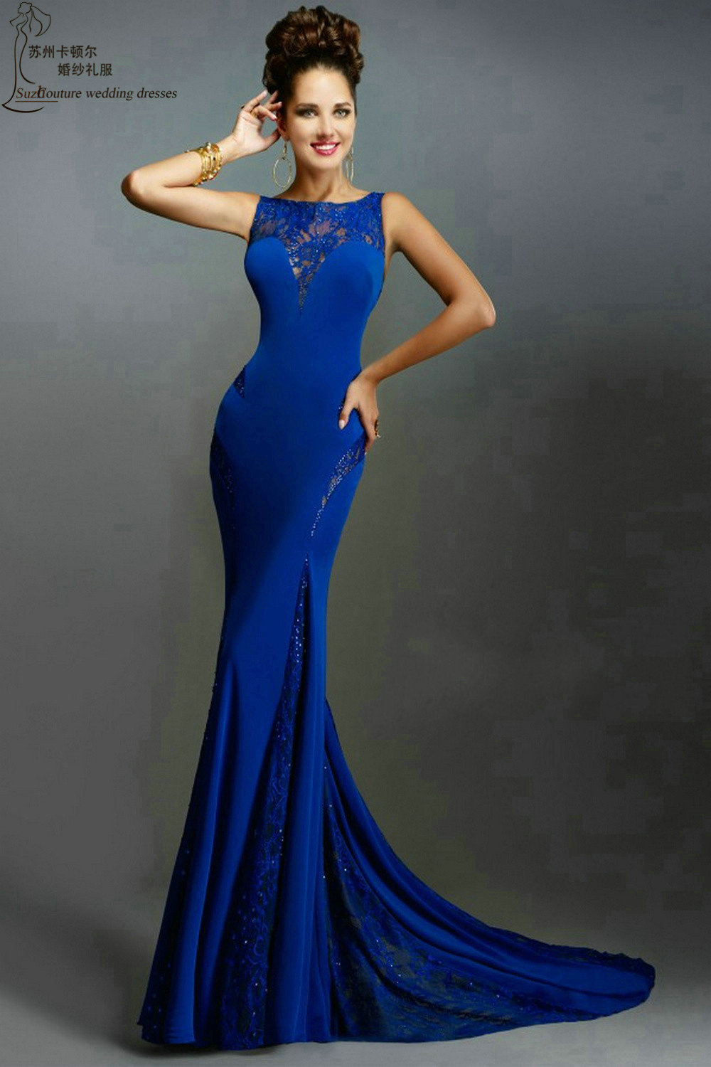 Online Shop Long Prom Dresses PM996 Sexy Beading Open Back Mermaid ...