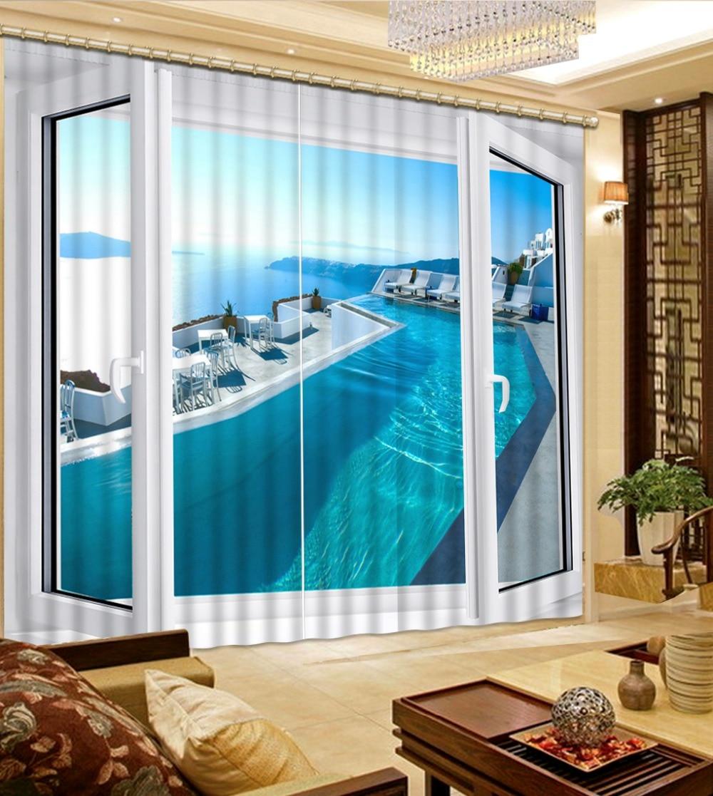 Custom 3d Cortinas Sea View Yacht 3d Living Room Curtains