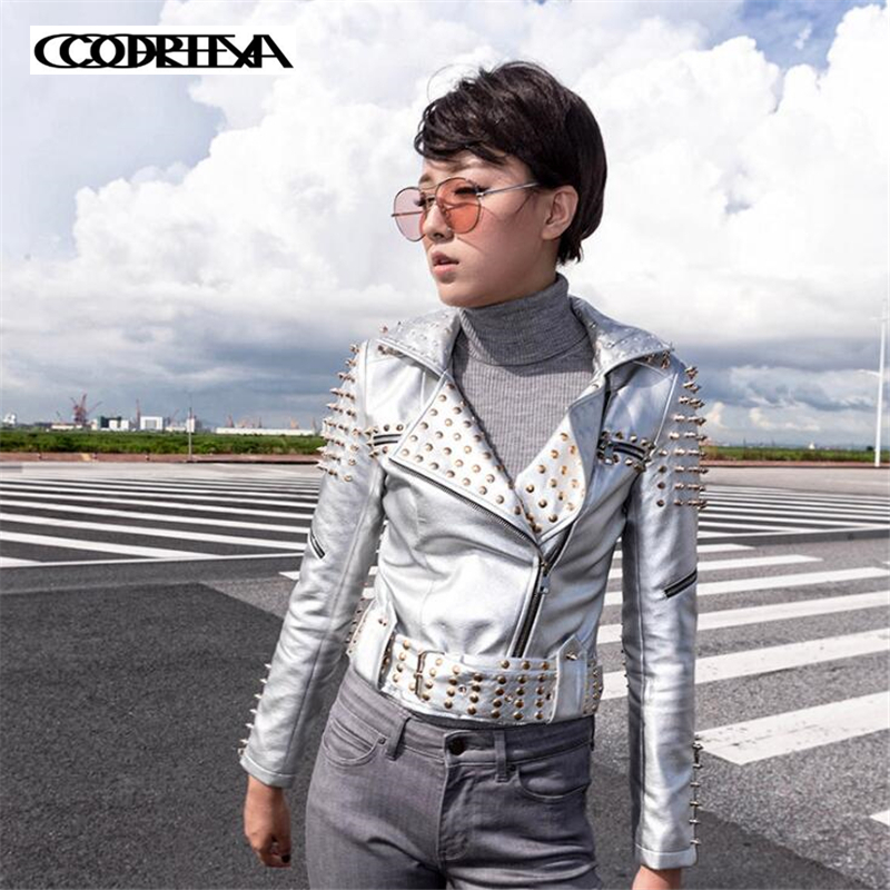 High Quality New Womens short Coat Ladies Bright Color Faux Leather Motorcycle Punk rock Jacket Coat
