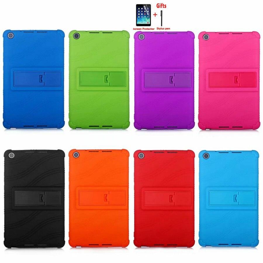 Segurança à prova de choque Stand Case Para Huawei MediaPad Lite 8.0 T5 M5 8 ''JDN2-W09HN AL00HN Macio de Silicone Tampa Do PC Funda + caneta + Filme