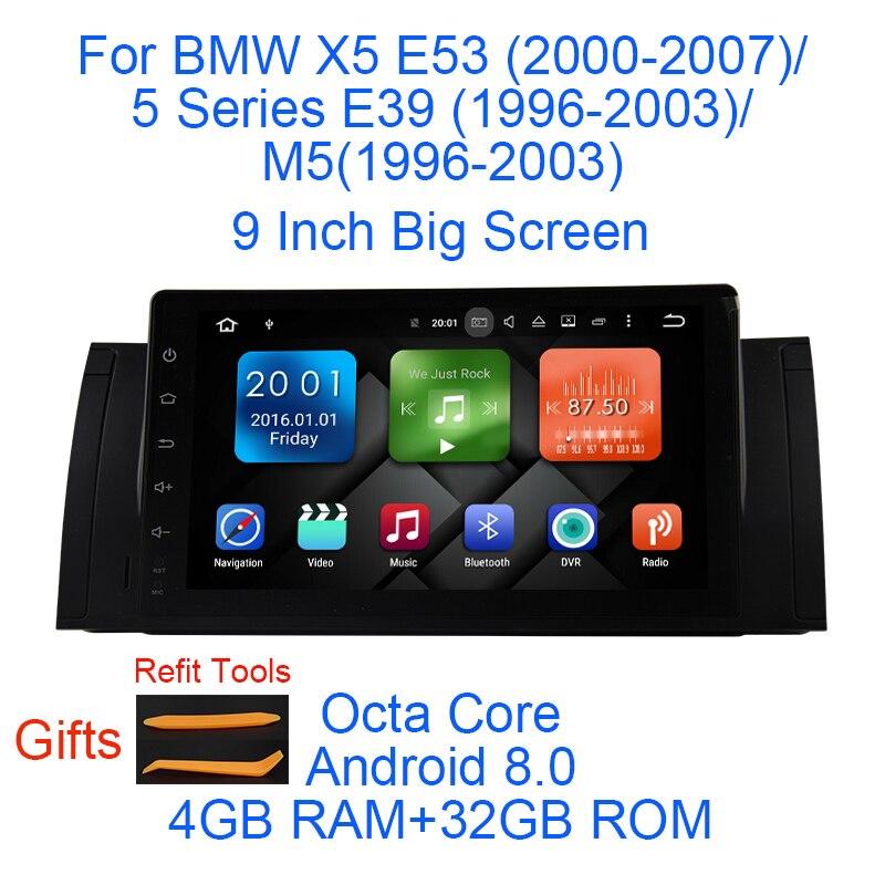 Android 8.0 Octa Core 4g RAM 32g ROM GPS Navi 9 Pouces Voiture DVD Multimédia pour BMW e53 X5 2000-07/E39 5er 96-03 avec Radio/BT/RDS