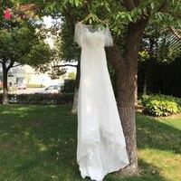 Jewel Bohemian Wedding Dresses 2018 Beach Puff Sleeve Lace Chiffon Bridal Wedding Gowns Open Back Long Tail Gelinlik ZW027