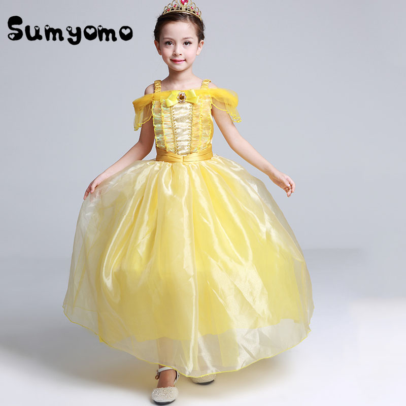 Kids Fair BELLA Girls Christmas Costumes Long Dresses Beauty and The Beast Cosplay Clothing Children Princess Belle dresses ewa