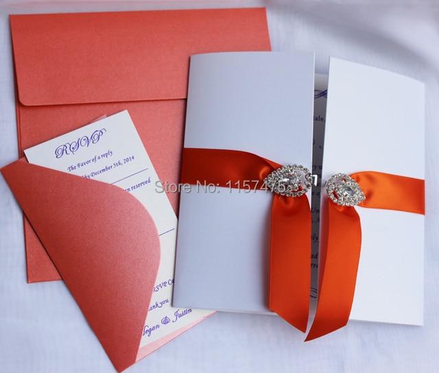HI1015 Beautiful White Gate Fold Wedding Invitations with Rhinestone