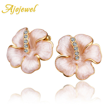 Ajojewel Eco-friendly Enamel Flower Stud Earrings For Women White Rhinestones Ladies Costume Jewelry 2019