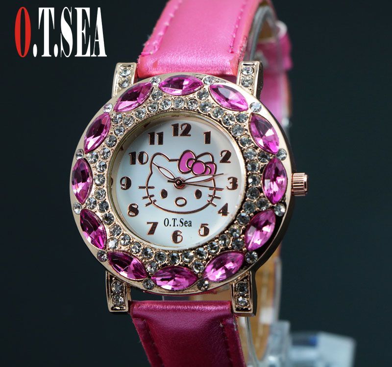 New O.T.SEA Brand Fashion Cartoon Hello Kitty Watches Children Girl Women Crystal Dress Quartz Wristwatches 048-28 hot sales cute hello kitty watches cartoon watch children girl women crystal dress quartz wristwatches 048 27