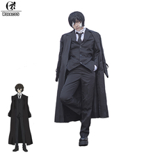 цена на ROLECOS Brand New Anime Bungo Stray Dogs Dazai Osamu Cosplay Costume Black Trench Full Suits Men Cosplay Costumes GC276A