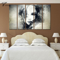 Moderne Home Decor Abstract Schilderen Op Doek Zwart Jonge Dame Art Muur Pictures Voor Slaapkamer Meisjes 5 Stuk Grote Geen Frame