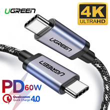 Ugreen USB 3.1 Type C to USB C Cable for Samsung S9 S8 Plus Nintendo Switch PD 60W QC3.0 3A Quick Charge Cable for Macbook USBC