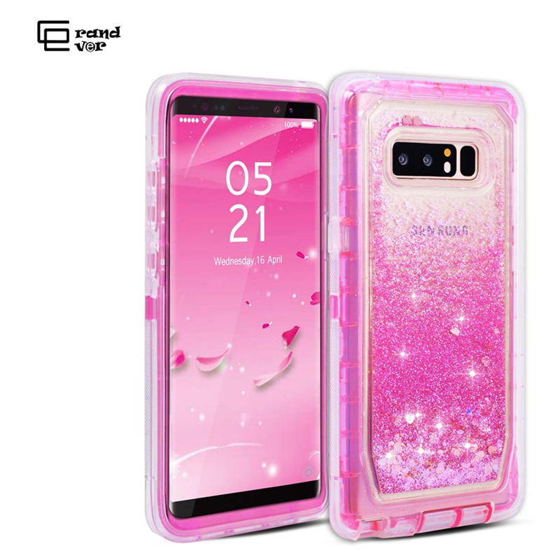 Luxury 3 in1 Quicksand Bling Phone Case For Samsung Galaxy S8 S9 Plus Note 8 S7 Edge Cover TPU For Hard Dynamic Glitter Liquid