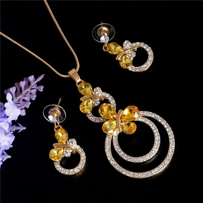 2017 Kristall Schmuck Gold Hochzeit Schmuck Sets Zirkonia Elegante Engagement Ohrring & Choker Halskette Für Frauen Zubehör