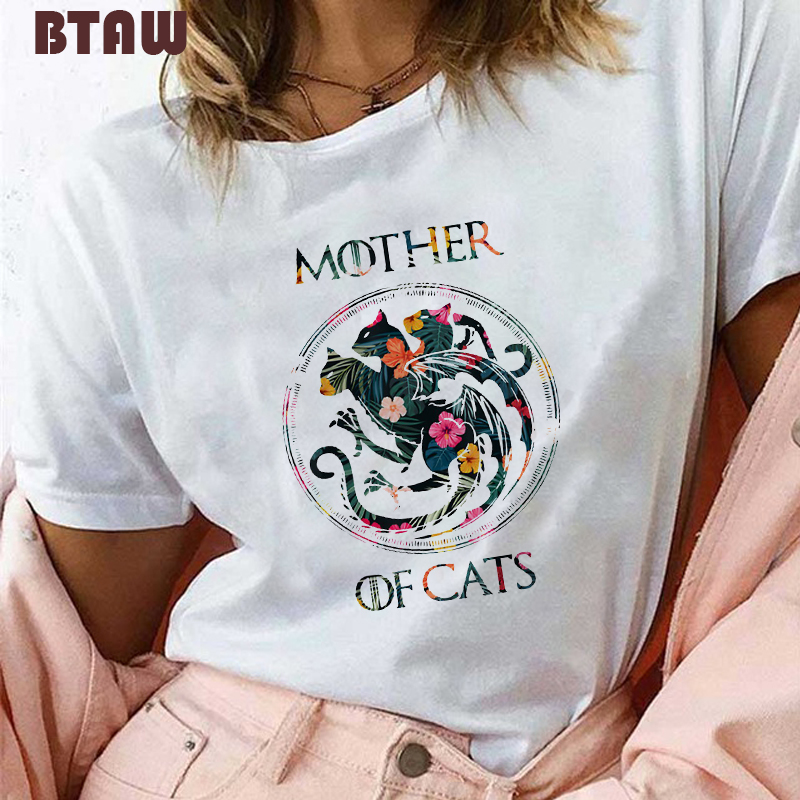 5 Mother Of Cats/Dogs T Shirt For Women Print Flowers Dracarys Dragon T-shirt Harajuku Graphic Tees Vogue Aesthetic Gothic Tops