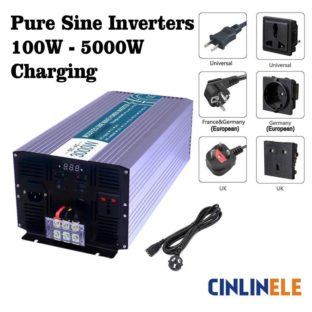 цена на Smart Charging Pure Sine Wave Inverters DC 12V 24V to AC 110V 220V 1000W - 5000W 1500W 2000W 2500W 3000W 4000W Solar Power Car