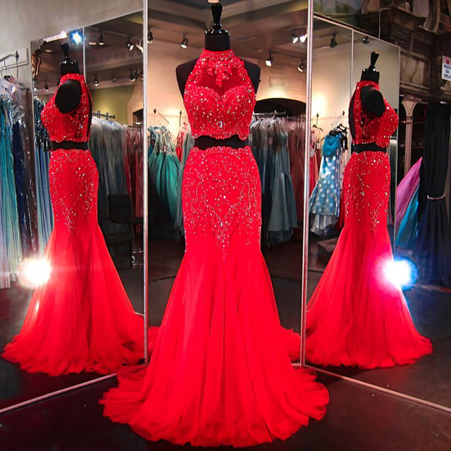 b7e943db113 Dresstells 2 Piece Prom Dresses Red Halter Beaded Sleeveless Open Back Mermaid  Evening Gown Formal Plus Size Gowns Vestido