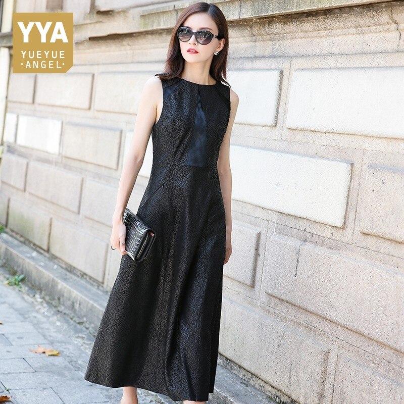 High Quality Luxury Womens Slim Fit Dress Fashion Solid O Neck Sheepskin Dress Female Long Genuine