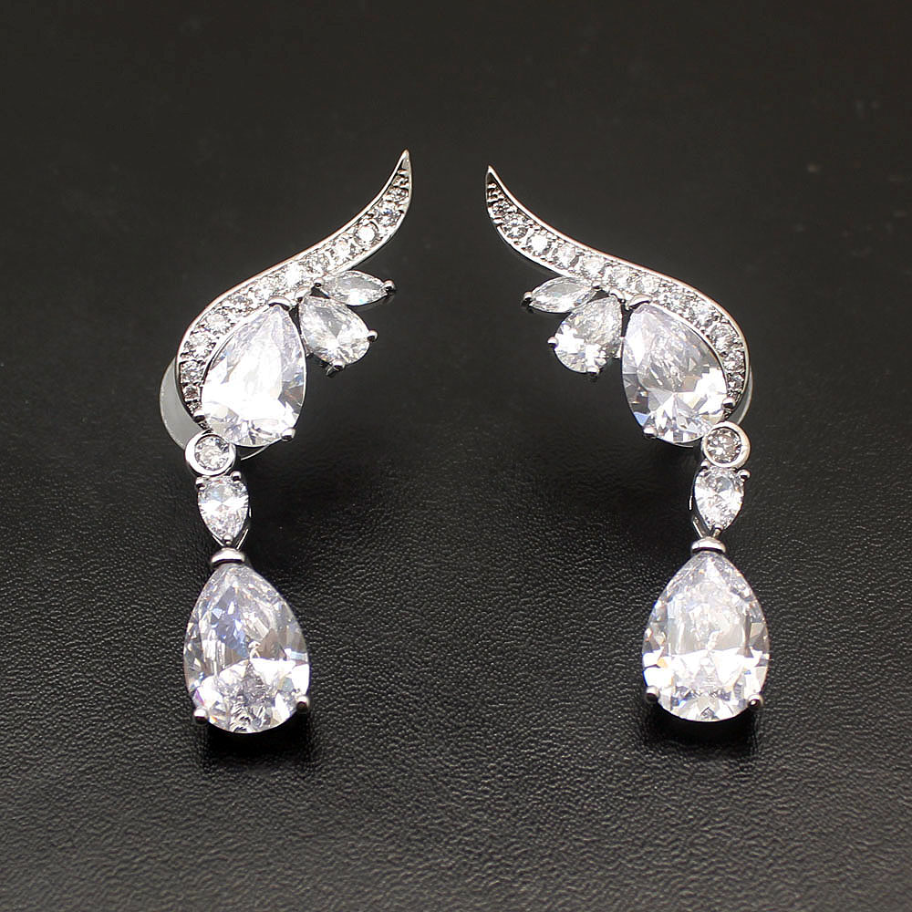 Hermosa Gifts Queen Design Delicate Whitetopaz Clear 925 Sterling Silver Ladies Earrings 2 Inch Free Shipping