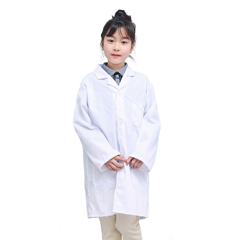 1 Pcs Children Nurse Doctor White Lab Coat Uniform Top Performance Costume Medical -MX8