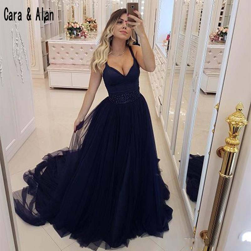 Hot Navy Blue   Prom     Dresses   2019 Sweetheart Spaghetti Straps Long Evening Gowns Plus Size With Beaded Waist Party   Dress