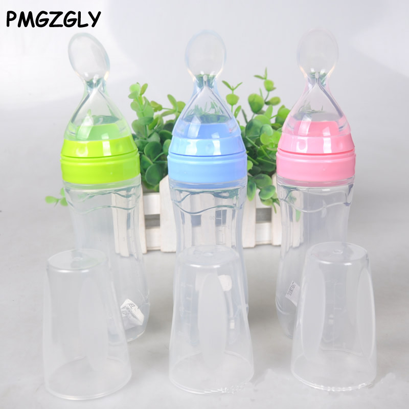 Solid Feeding Utensils Cup 120ml Feeder Silicone Spoon Bottle Feeding Dispensing Spoons BPA Free Baby Utensils Rice Cereal