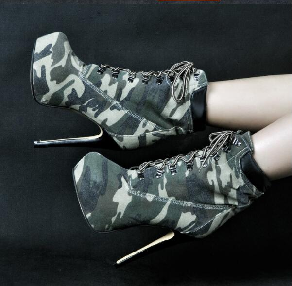 Camouflage ankle boots new fashion women Spring Autumn boots lace up high thin heel 14.5 cm platform high heel big size 43 europe america style spring autumn women genuine leather thin high heel lace up low cut fashion denim shoes size 34 41 sxq0709