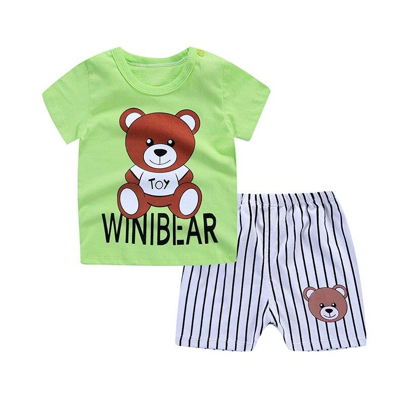2018 комплект детской одежды милые Носки с рисунком медведя из мультика Детская одежда Одежда для мальчиков для маленьких девочек летняя оде...