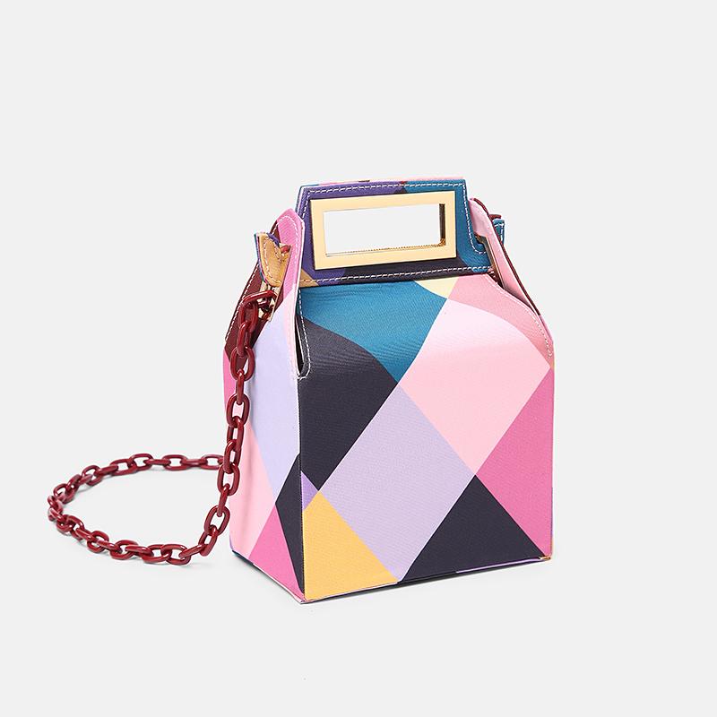 Luxury Brand Women Metal Lock Messenger Bags Clutches Box Shape Patchwork Evening Party Bag Elegant Wedding Shoulder Bag Handbag
