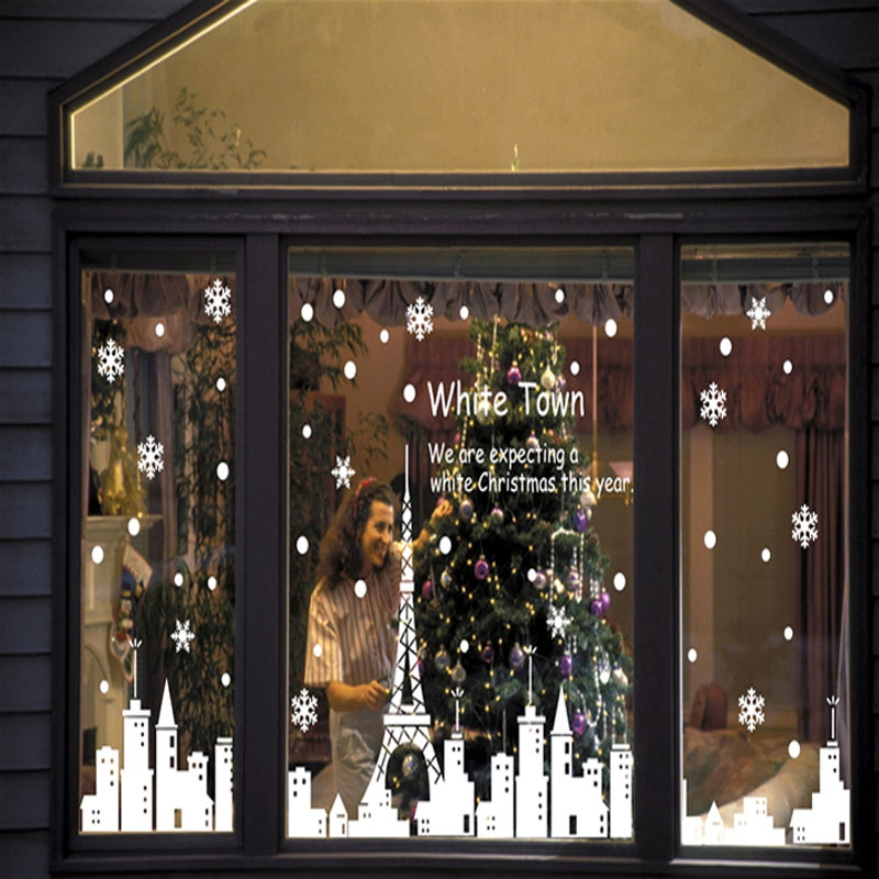 Christmas Decorations For Home Windows: Christmas Snowflake City Tower Night Stores Window