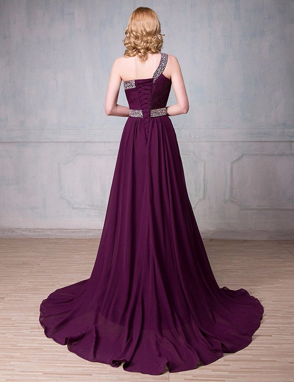 Bealegantom 2018 Gradient One Shoulder Chiffon Prom Evening Dresses ...