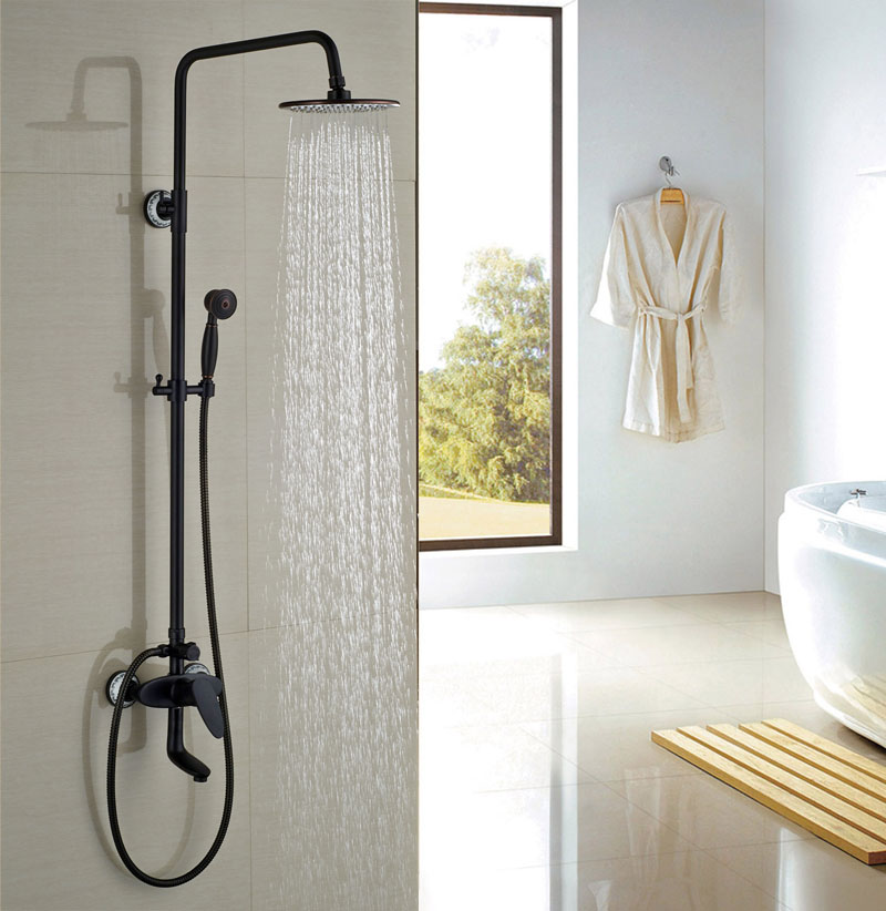 New Arrival 8 Shower Sets Oil Rubbed Broze Round Shower Head Single Handle Hot&Cold Faucet