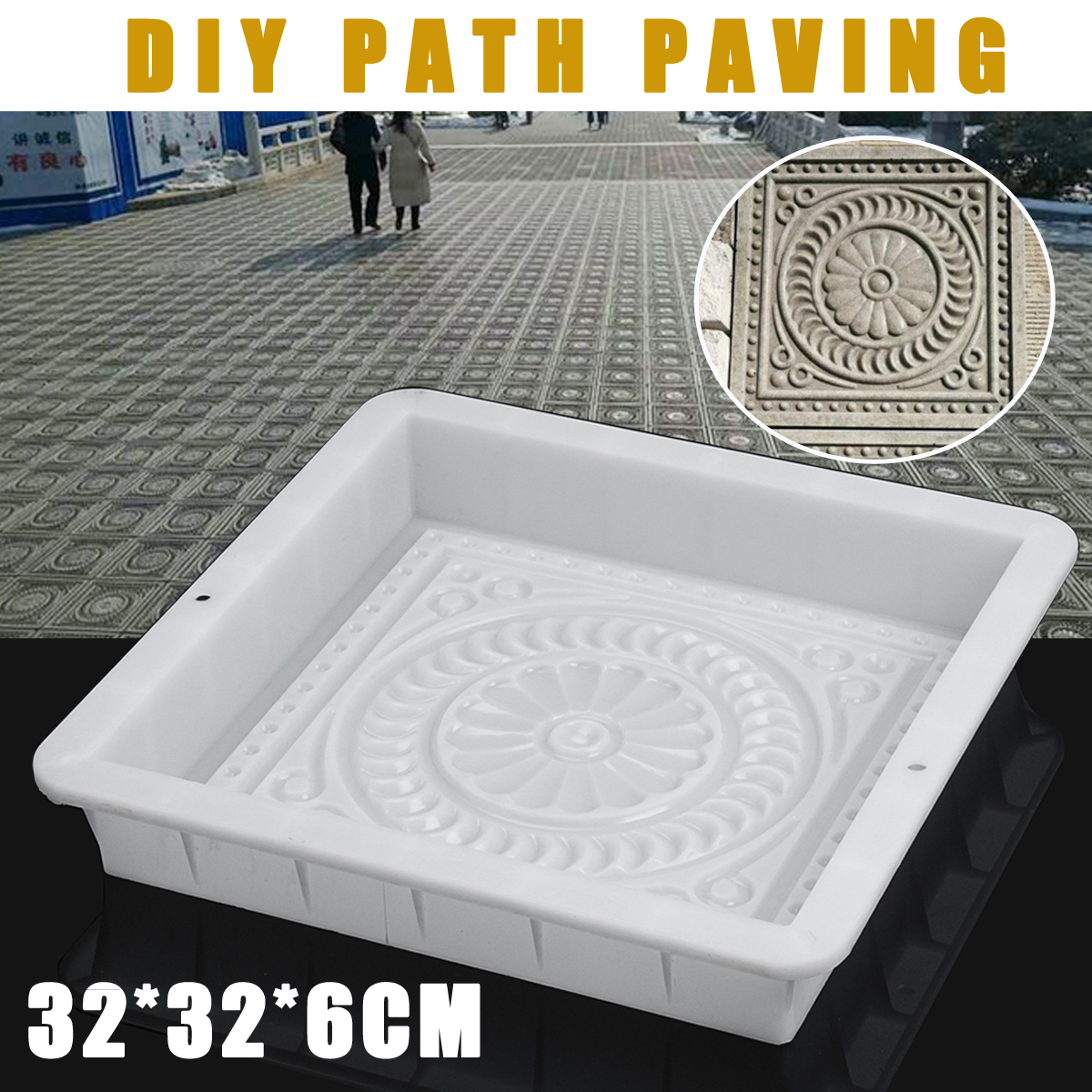 Outdoor Courtyard Garden Stone Road Walk Maker DIY Manually Path Paving Maker Flower Mold Imitation Brick Carving Pavement Tool