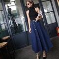 Otoño invierno moda mujeres largo falda de mezclilla delgada ocasional maxi faldas 2 color vintage jeans faldas largas