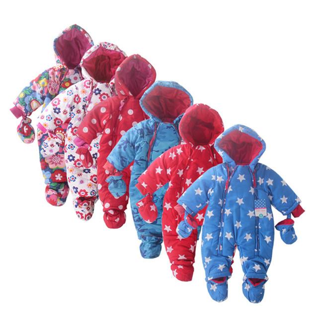 2015 Nueva moda bebé del invierno del mameluco grueso de algodón acolchado envolver el pie con guantes mono para niños 6M-2Y ropa del invierno del bebé