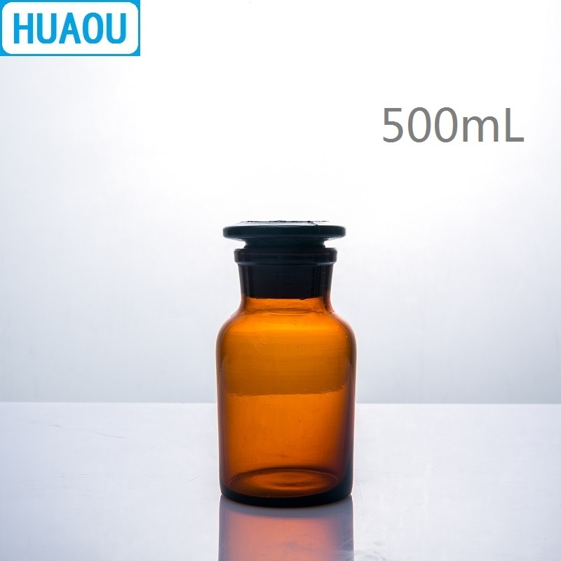 HUAOU 500mL Wide Mouth Reagent Bottle Brown Amber Glass With Ground In Glass Stopper Laboratory Chemistry Equipment
