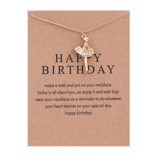 Happy Birthday Gold Color Ballet Dancing Girl Necklace Tiny For Women Bridesmaid Gifts