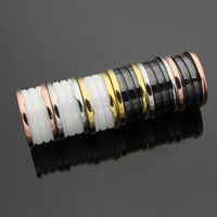 Brand 316L Stainless Steel Fashion Black And White Ceramic Rings Women Men Wedding Jewlery Couple Wide