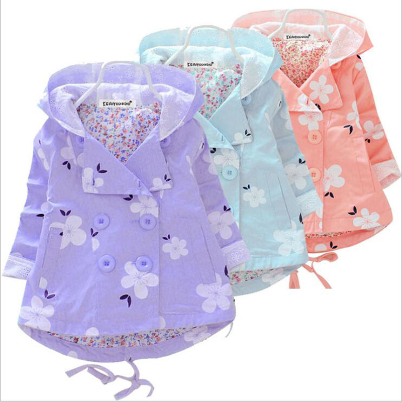 Spring Autumn Girls Casual Hooded Flower Windbreaker School Children Trench Outerwear Coat Baby Clothes Kids Jacket Clothing