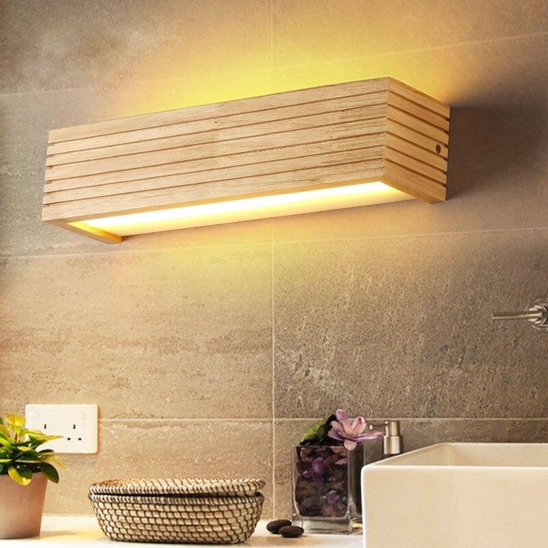 DX Moderne Holz Wand Leuchten Badezimmer Spiegel lampe Flur Wandlamp Bett  licht nordic hause beleuchtung leuchte vintage wand lampe