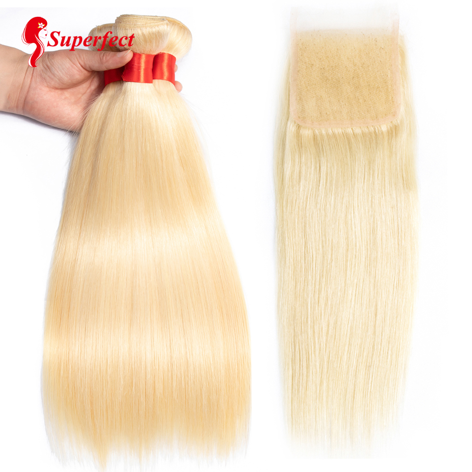 613 Bundles With Closure Peruvian Straight Hair Bundles With Closure Platinum Blonde Bundles With Closure Remy