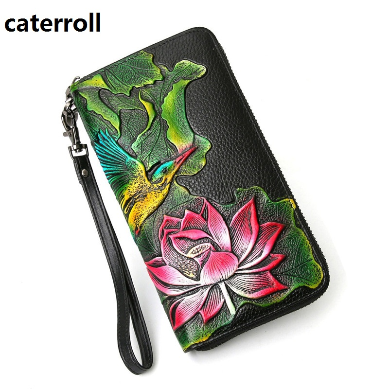 2020 New Genuine Leather Wallet Female Long Women Wallets And Purses Luxury Brand Clutch Purse Floral Real Leather Money Bag