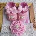 Bebé recién nacido zapatos marca, infantil del niño del bebé de la tela botines diadema set, pequeño bebé walker, zapatos de bebé rosados de la mariposa