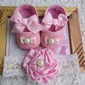 Newborn Baby Girl Shoes Brand,Toddler Infant Fabric Baby Booties Headband Set,Little Girl Baby Walker,pink baby shoes butterfly