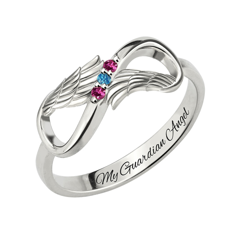Angel Wings Infinity Ring With Birthstones White Gold Color Engraved Name Ring Birthstones Ring for Mom