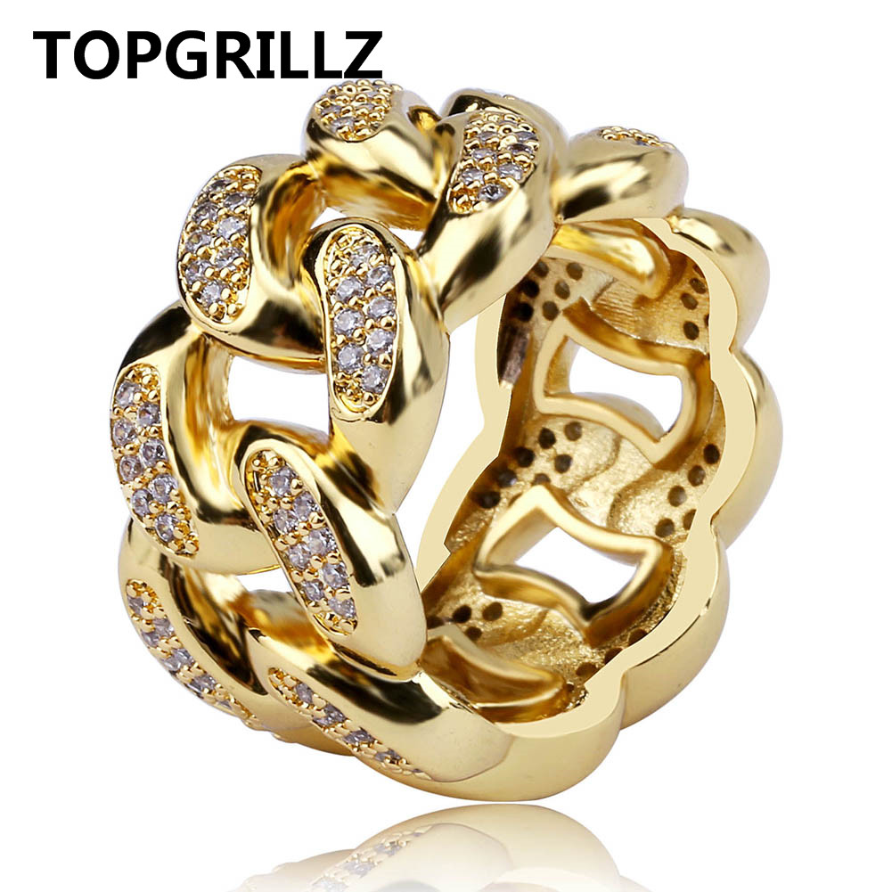 TOPGRILLZ Cuban Link Chain Ring Men's Hip Hop Gold Color Iced Out Cubic Zircon Jewelry Rings 7 8 9 10 11 Five Size