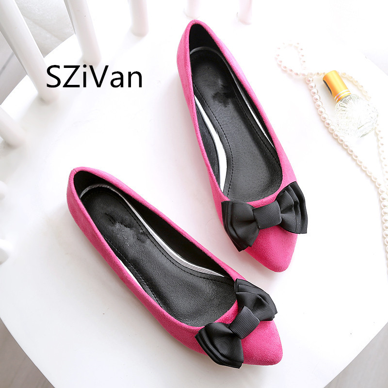 SZiVan  Spring autumn new sweet Woman fashion shoes casual comfortable large size butterfly knot flat shoes women work shoes 45 мужские ботинки spring autumn hightop size38 45 2