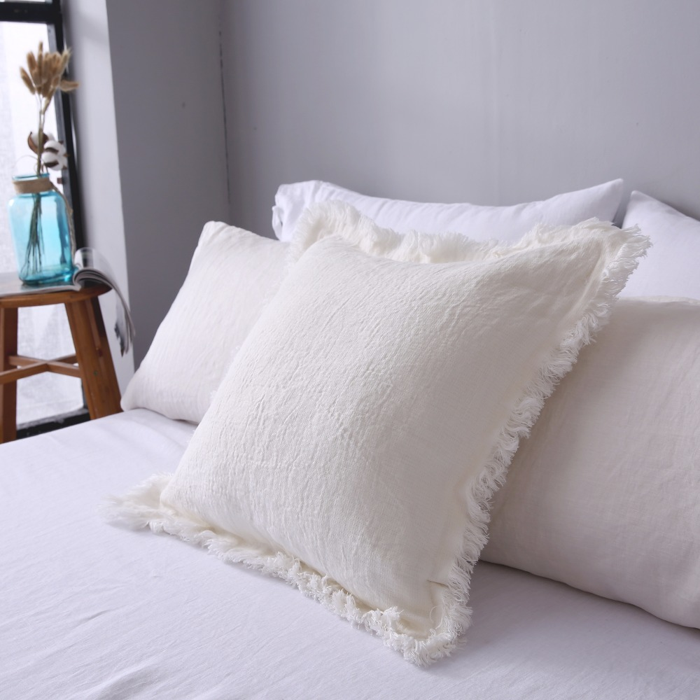 ESASILK Fringed edge Linen Square Pillowcase 100%French Linen Cushion - Home Textile - Photo 2